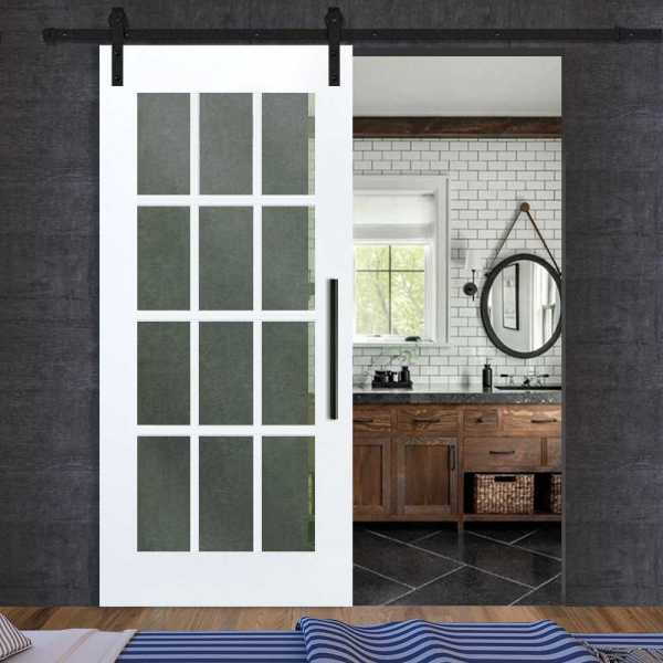 12 Lite French Sliding Barn Door with Frosted, Clear or Textured Glass Inserts WGD-0026