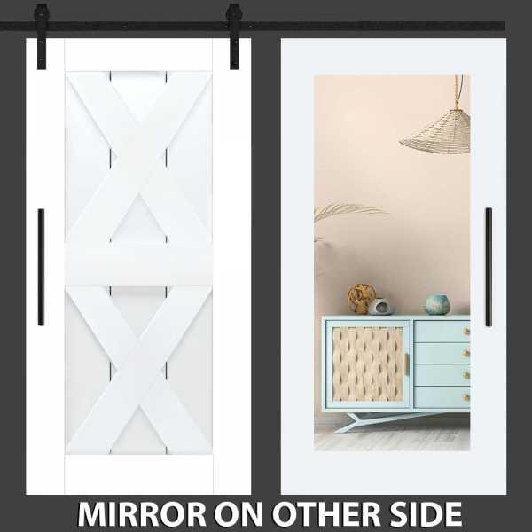 Double X Mirror Barn Door with Mirror Panel