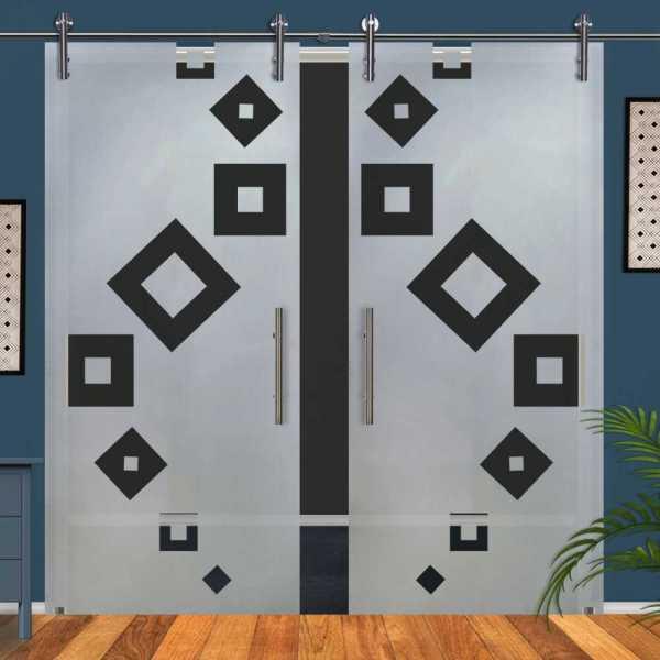 Double Glass Barn Door (Model DSGD-V1000-0068 Semi-Private)
