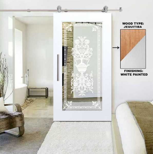 Real Solid Hardwood Sliding Door with Mirror Insert WMD-0103