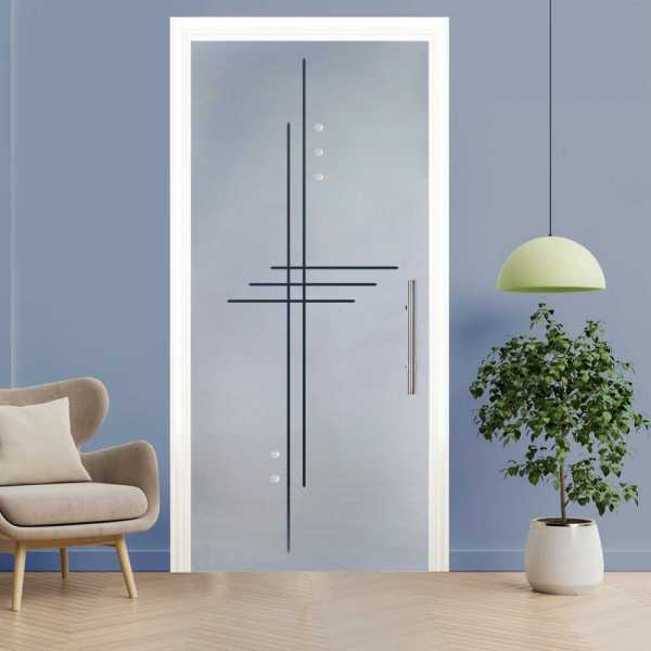Sliding Pocket Glass Door with Frosted Design and Hardware PSGD-0054