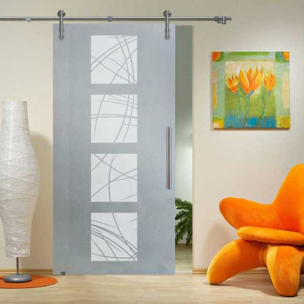 """Sliding Glass Barn Door, 36""""x84"""", Thickness: 10mm and Full Private Design (15% OFF)"""