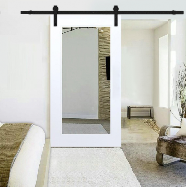 """++Sales Offers++ 36"""" x 84"""" Mirrored Sliding Barn Door with Mirror Insert,White Painted """"Open Box"""""""