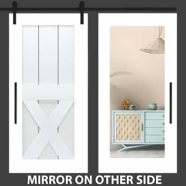 Half X Mirror Barn Door with Mirror Insert