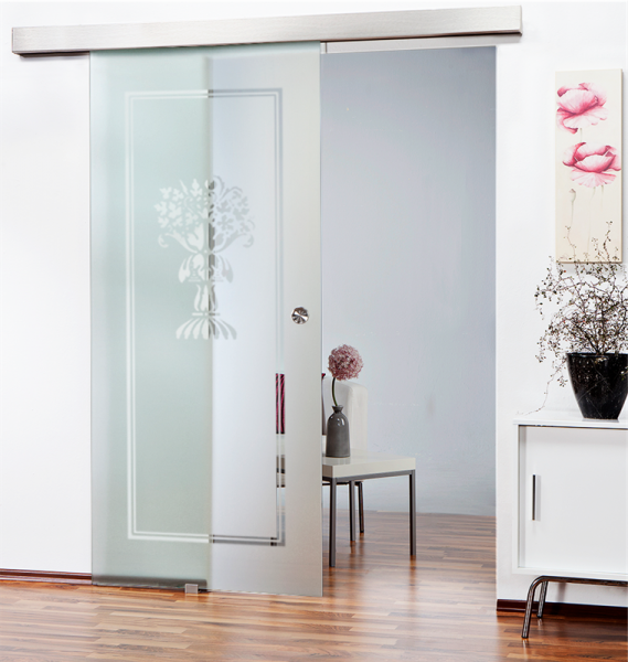 Sliding Glass Barn Door SGD-ALU100-0128 semi-private