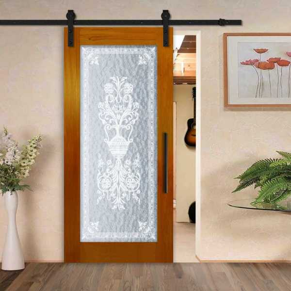 Solid Hardwood Sliding Barn Door with Textured Glass Insert and Victorian Frosted Design WGD-0072
