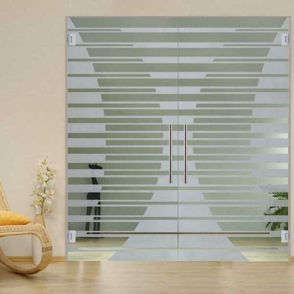 "2x Pivot Glass Door Custom design, 70 1/2"" W x 79 1/2"" H, 8mm thickness, Handlebar, and Non-private"