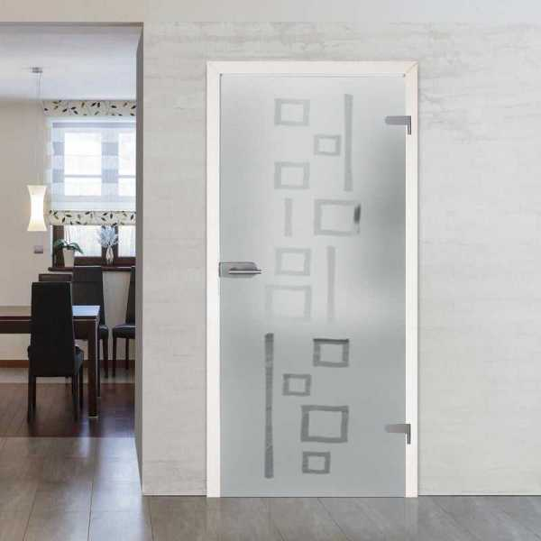 "Hinged Glass Door Frosted with Design 30""x86"" Inch + Hardware + Jambs and Casings (Right)"
