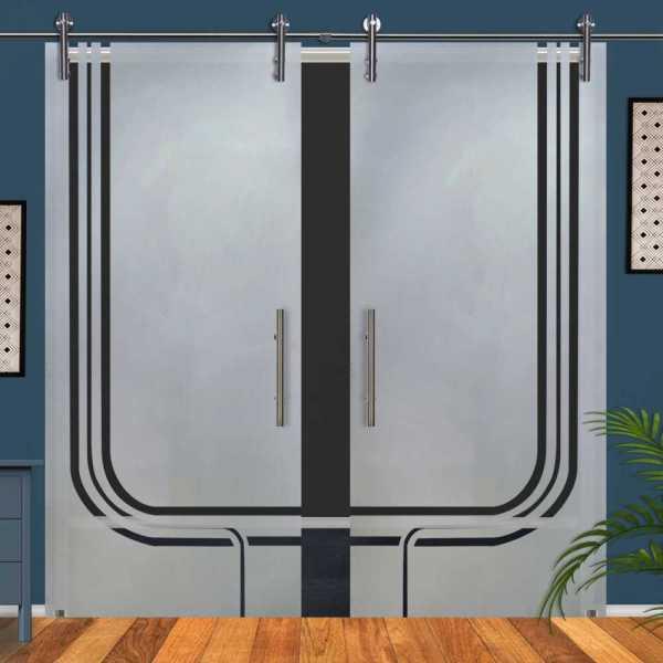 Double Glass Barn Door (Model DSGD-V1000-0053 Semi-Private)
