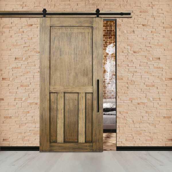 Vintage Ranch Sliding Barn Door with Doouble T Center Brace & Carbon Steel Hardware.