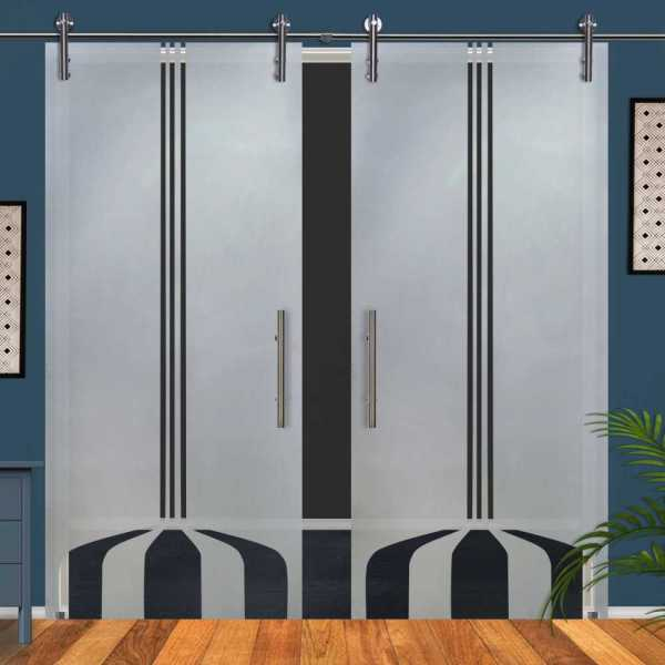 Double Glass Barn Door (Model DSGD-V1000-0050 Semi-Private)