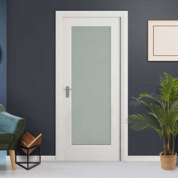 Frosted 1 Lite Interior Door with Glass Insert (open to Right)