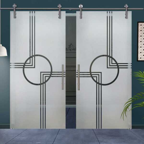 Double Glass Barn Door (Model DSGD-V1000-0025 Semi-Private)