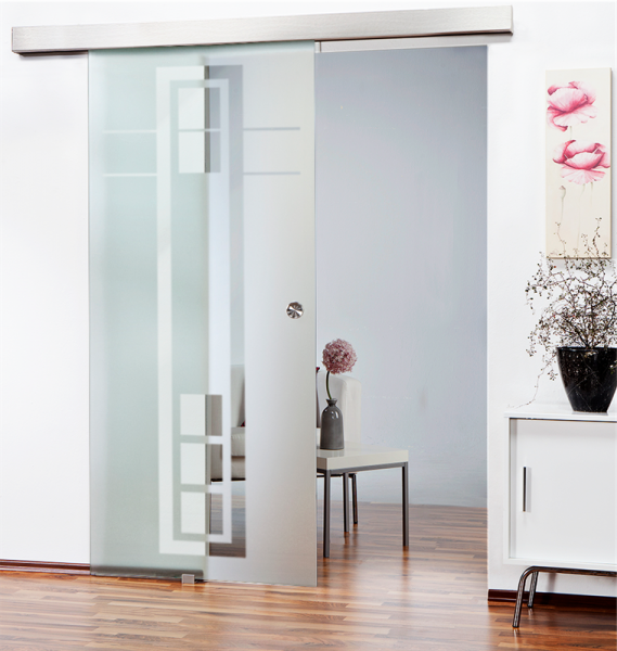 Sliding Glass Barn Door SGD-ALU100-0104 semi-private