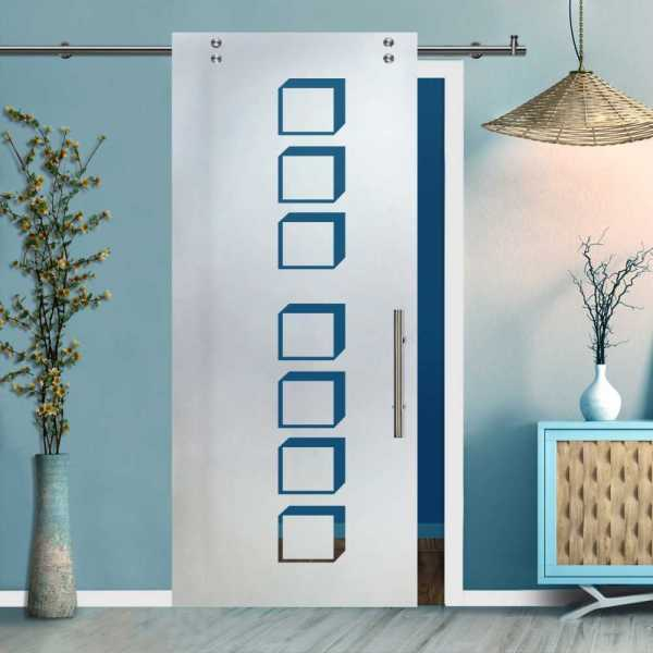 Single Sliding Barn Glass Door SGD-V2000-0449 (Semi-private)