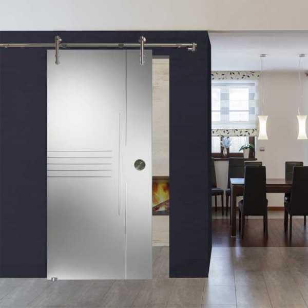 "XXL Sliding Glas Barn Door Sandblasted & Clear Striped Design + Hardware 42""x97"" Inch"