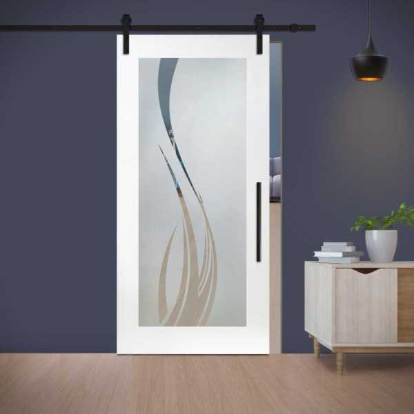Sliding Barn Door (Model WGD-0007 Semi-Private) with Carbon Steel Sliding System