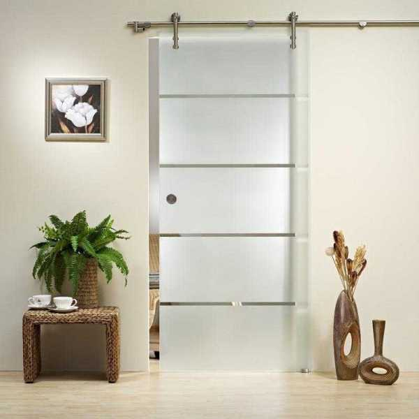 "Sliding Glass Barn Door Frosted with Clear Lines + Hardware 39""x84"" Inches"