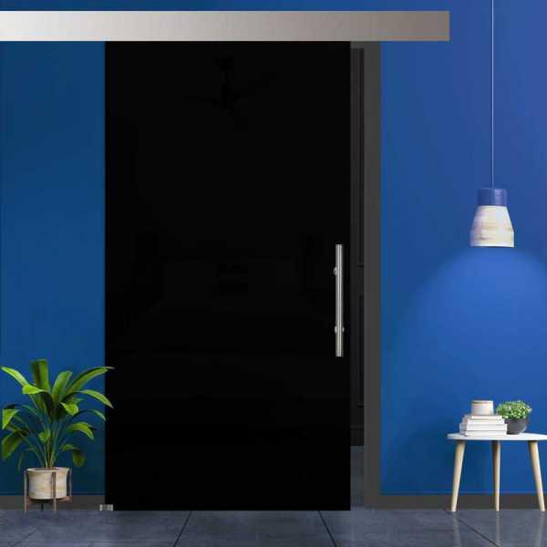 Black Glass Sliding Barn Door with High gloss