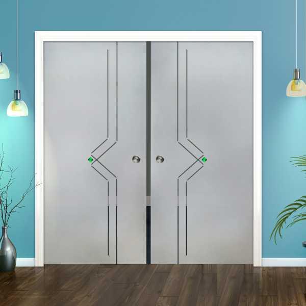 Double Pocket Glass Barn Door (Model DPSGD-0121 Semi-Private)_Recessed Grip Handle