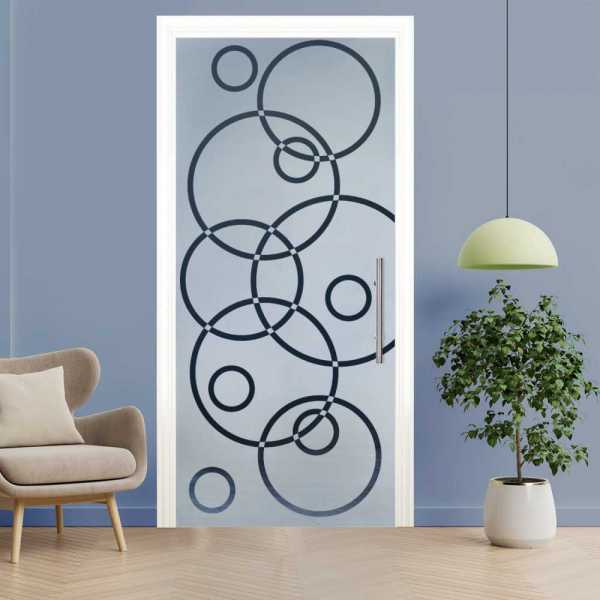 Sliding Pocket Glass Door with Frosted Design and Hardware PSGD-0006