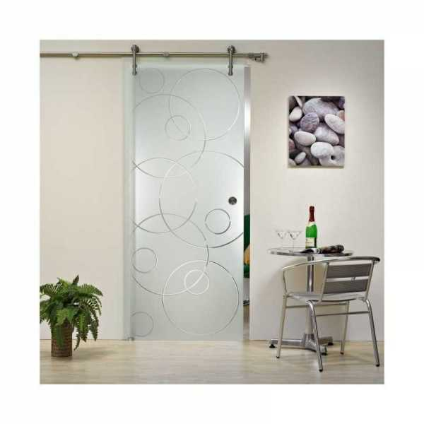 "Frameless Sliding Glass Door 16 different Frosted Design, 40""x 84"" Ø 3/8"