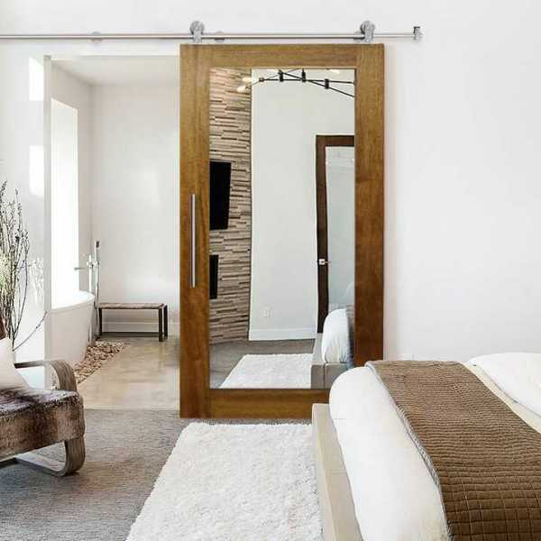 """Solid Tropical Oak Sliding Barn Door with Mirror Insert, 36""""x84"""" Inches"""