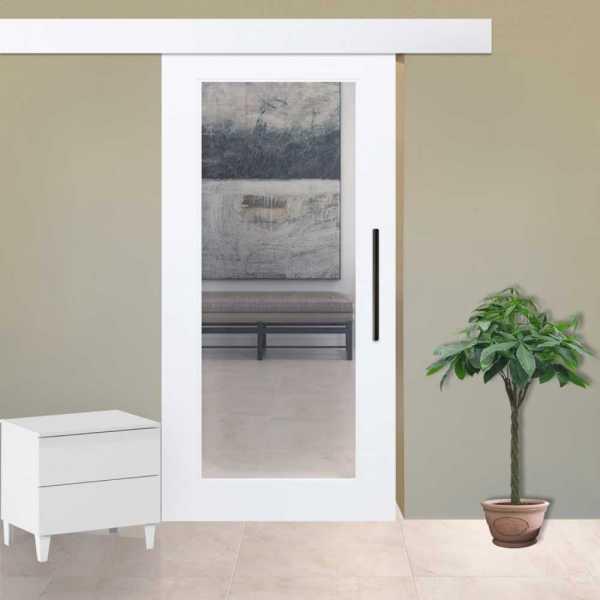 "1 Lite MDF Sliding Door, 48"" x 94"", opening direction: left, transparent glass"
