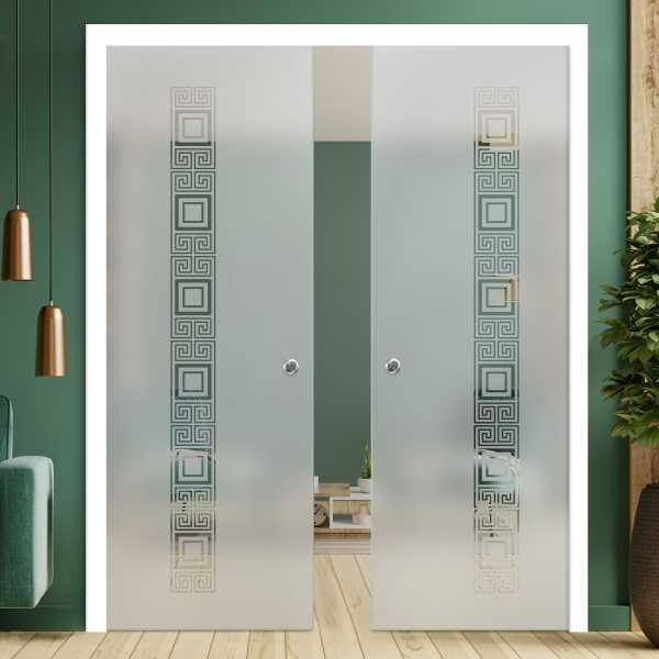 Double Pocket Glass Barn Door (Model DPSGD-0040 Semi-Private)_Recessed Grip Handle