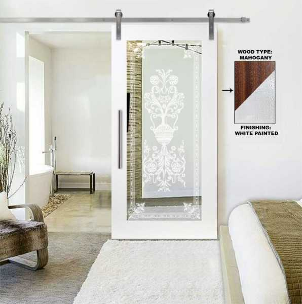 Mirror Sliding Barn Door with Victorian Frosted Designs WMD-0102