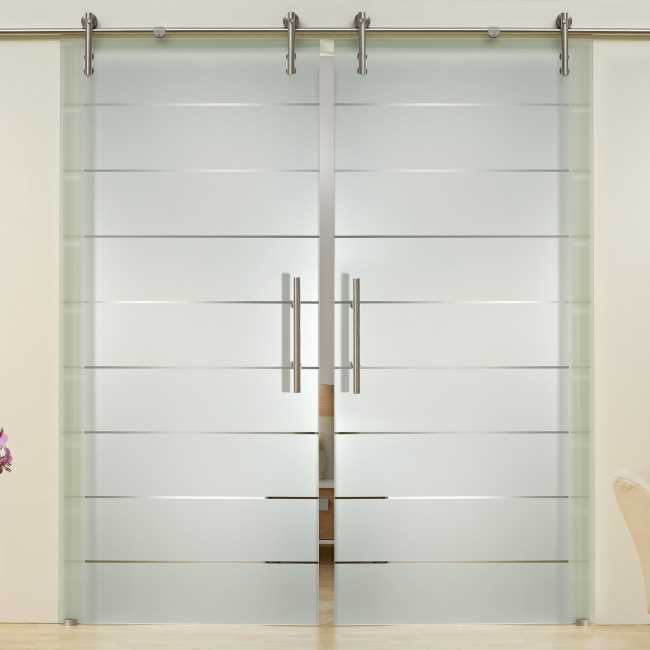 2 Leaf Sliding Glass Barn Door With Frosted Lines Design