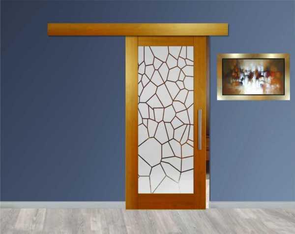 Hardwood Mahagony Sliding Barn Door with Glass Insert Included Hardware WGD-0038
