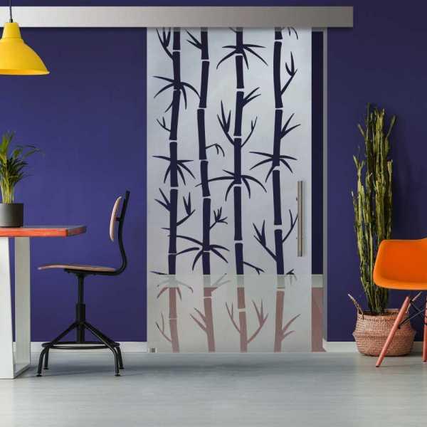 Glass Barn Door (Model SGD-ALU100-0318 Semi-Private)