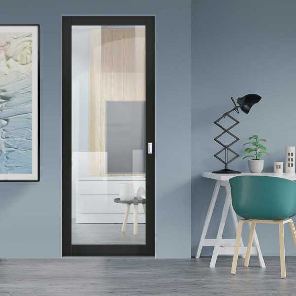 Industrial Style Pocket Door with Clear Glass 1 Panel & Rectangular Stainless Steel Grip Handle