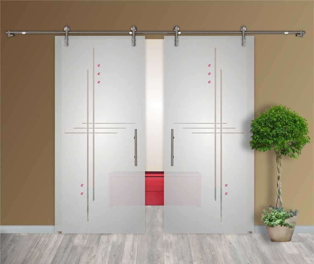 2 leaf sliding glass barn door with sliding system euro slider v1000 rh glass door us