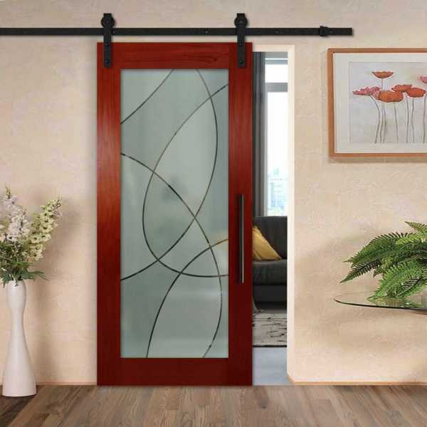 Solid mahogany sliding door with glass insert (3D frosted design) and carbon steel sliding system