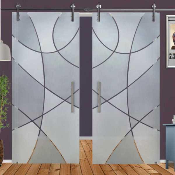 Double Glass Barn Door (Model DSGD-V1000-0024 Semi-Private)