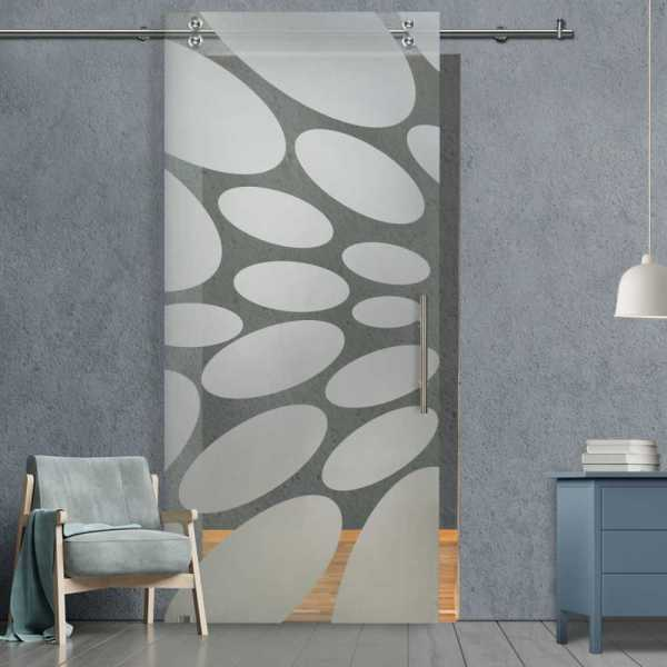 Glass Barn Door (Model SGD-V2000-0067 Semi-Private)