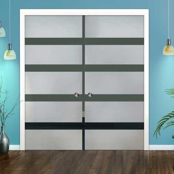 Double Pocket Glass Barn Door (Model DPSGD-0046 Semi-Private)_Recessed Grip Handle