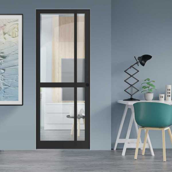 Industrial Style Pocket Door with Clear Glass 4 Panels & Carbon Steel Grip Handle