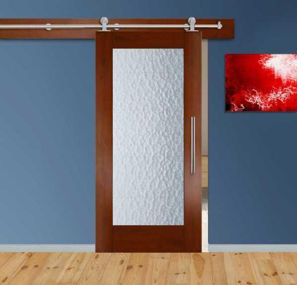 Real Solid Hardwood Sliding Barn Door with Aquatex Glass Insert WGD-0071