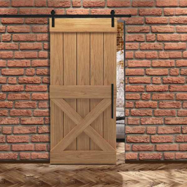 Real Solid Hardwood Half X Sliding Barn Door WD-0012