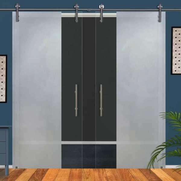 ++Sales Offers++ Double Sliding Glass Barn Door DSGD-V1000-0028