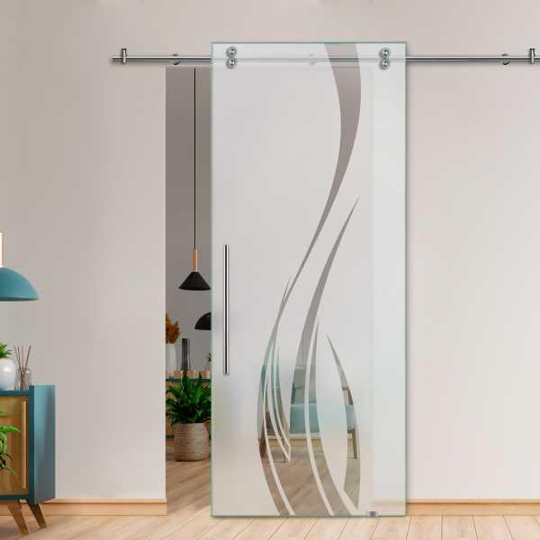 Glass Barn Door (Model SGD-V2000-0057 Semi-Private)