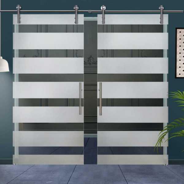 Double Glass Barn Door (Model DSGD-V1000-0031 Semi-Private)