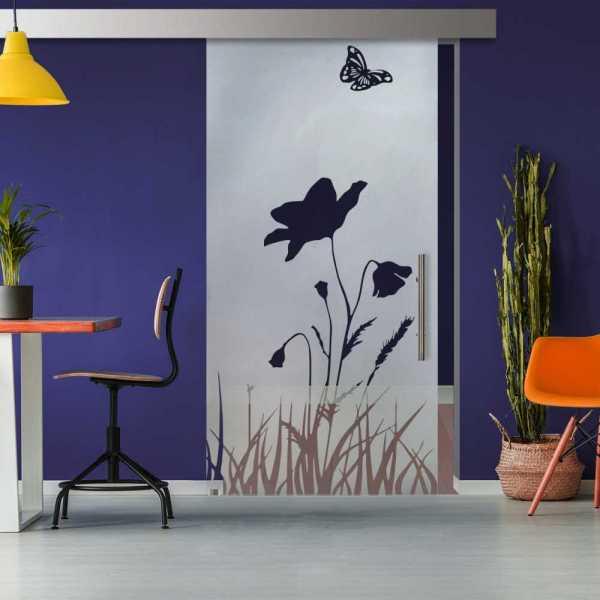 Glass Barn Door (Model SGD-ALU100-0328 Semi-Private)