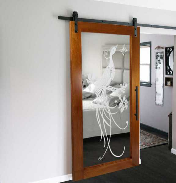 Real Solid Hardwood Sliding Barn Door with Mirror Insert WD-0012