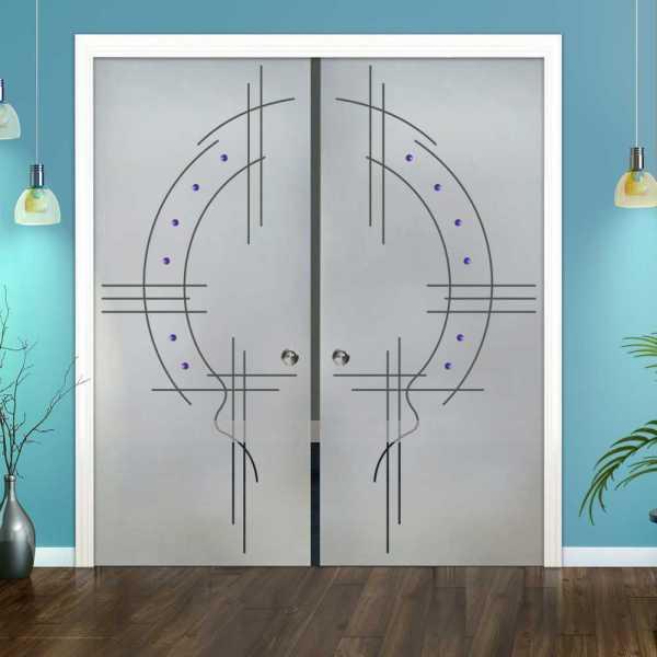 Double Pocket Glass Barn Door (Model DPSGD-0055 Semi-Private)_Recessed Grip Handle