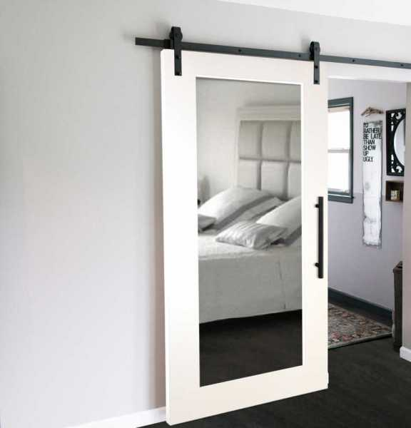 Mirrored Sliding Barn Door with Mirror Insert WMD-0001