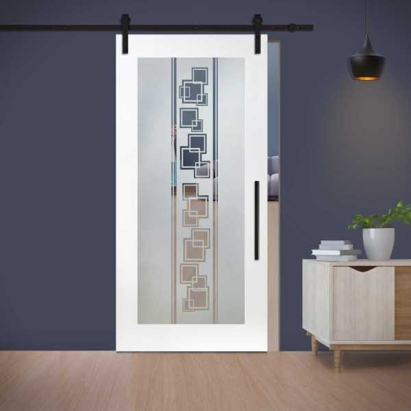 Sliding Barn Door (Model WGD-0011 Semi-Private) with Carbon Steel Sliding System